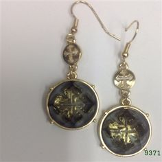 Black Diamond Gold Round Crystal Medallion Wire Earrings