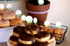 Teacher Appreciation Doughnut Party - good for breakfast day ... maybe add bagels or cones filled with fresh fruit?