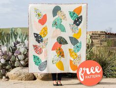 Free-Hidden-Garden-Quilt-Pattern use Alexander Henry yardage for back and a few front leaves combined with other fabrics. Modern Quilt Patterns, Quilt Patterns Free, Free Pattern, Modern Quilting, Quilting Tutorials, Quilting Designs, Quilting Ideas, Rail Fence Quilt, Hidden Garden