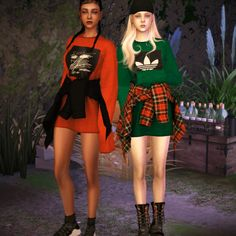 Shirts Tied Around Waists Outfit for The Sims 4