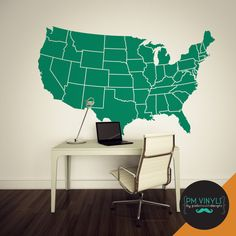 Large Map of the Continental US Vinyl Wall Decal  by PMVinyls