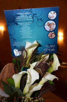 Peacock arrangement and program... Photo and arrangement by Tamra Turner. Owner of Sunshine Wedding Company and Tamra Turner Photography