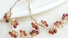 Garnet Wire Wrapped Hoop Earrings