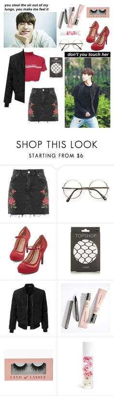 """hands at the bottom of my rib cage tattooed to me like a lined page."" by chaiteahyung ❤ liked on Polyvore featuring Topshop, LE3NO and Blossom"