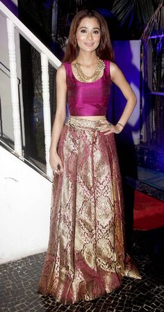 Small screen beauties Deepika Singh, Pooja Gaur, Krystle D Souza, Barkha Bisht Sengupta, Nia Sharma and a host of popular television celebs were in attendance at the unveiling of Telly Calendar 2015 Ankara Short Gown Styles, Short Gowns, Indian Attire, Indian Ethnic Wear, Ethnic Outfits, Indian Outfits, India Fashion, Ethnic Fashion, Nice Dresses