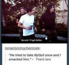 My Chemical Romance: Gerard Way and Frank Iero | This is sad and heartwarming at the same time...
