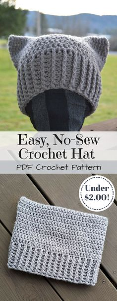 Easy crochet pattern for this adorable no-sew cat hat! And under $2! Sweet deal! Looks easy peasy, perfect for the beginner crocheter! #ets #ad #crochet #pattern #nosew