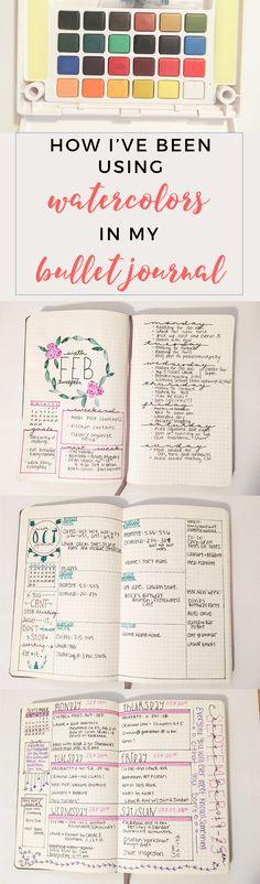 Bullet Journal Watercolor Spread http://productiveandpretty.com/bullet-journal-water-color/?utm_campaign=coschedule&utm_source=pinterest&utm_medium=Jen%20%2B%20Liz%20%7C%20Productive%20and%20Pretty&utm_content=Bullet%20Journal%20Watercolor%20Spread