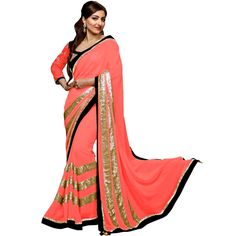 Soha Ali Khan Georgette Sequins Work Pink Saree   MTO