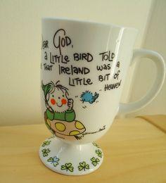1982 Dear God Irish Little Bird Told Me Ireland Heaven Pedestal Coffee Cup Mug #DearGodKidsbyEnesco