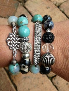 Teal and black agate beaded bracelet set of by MandysChicCreations, $70.00