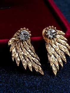 Golden Crystal Detail Textured Angel Wing Earrings