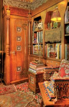 Inspired by the Modern Gothic furniture of Kimball & Cabus, this bookcase was built into a miniscule New York City apartment to create an English Aesthetic library. It's made of oak and outfitted with all of the Gothic bells and whistles: a shingled roof (which lifts up for much-appreciated storage), ornate nickel-plated strapwork, and Pugin tiles set into the cabinet doors. Photo: William Wright
