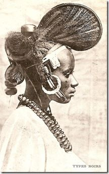 Vintage postcard, circa publisher & photographer unknown, author's collection. Fulani or Peul woman. African Tribes, African Braids, African Culture, African History, African Hairstyles, Afro Hairstyles, African Masks, My Black Is Beautiful, West Africa