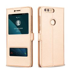 Huawei Honor 8 Case Leather Flip Cover Luxury Protector Capa Coque Honor8 Double Window Couro Fundas Mobile Phone Bag Cases *** AliExpress Affiliate's buyable pin. Detailed information can be found on www.aliexpress.com by clicking on the VISIT button #PhoneFlipCases