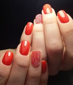 12 Top Classic Nails Designs for Girls 2017 - Reny styles Cute Pink Nails, Bright Nails, Pretty Nails, Orange Nails, Red Nails, Hair And Nails, Orange Nail Designs, Best Nail Art Designs, Caviar Nails