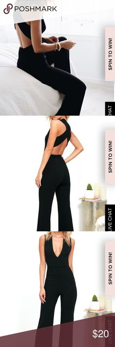 LULUS THINKING OUT LOUD BLACK BACKLESS JUMPSUIT Your admirers will have a lot to say about their love for you in the Thinking Out Loud Black Backless Jumpsuit! Medium-weight knit is formed to a sleeveless bodice, with V-neck, darting, and wide straps that cross over the open back. Bit of elastic at the waist tops the wide-leg pants. As Seen On Lindsay of Lindsay Marcella blog! Bodice is lined. Self: 94% Polyester, 6% Spandex. Lining: 100% Polyester. Hand Wash Cold. Made with Love in the…