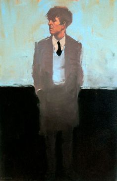 "Michael Carson ""Man in Blue"" 30x20 Oil on canvas"