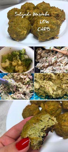 Salgado Maromba,saudável, FIT e Low Carb. Aqui o frango processado com couve flor e brócolis formam a massa que substitui a farinha dos salgados com carbo.