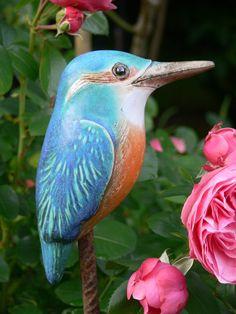 """Gartenkeramik Steckvogel """" Eisvogel""""  von Werkstatt für Gartenkeramik  Brigitte Peglow auf DaWanda.com"""