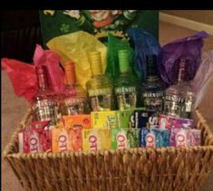 , Gift Basket Ideas For Fundraising Rainbow vodka basket my sister and I made for. , Gift Basket Ideas For Fundraising Rainbow vodka basket my sister and I made for a fundraiser. Fundraiser Baskets, Raffle Baskets, Fundraiser Games, Themed Gift Baskets, Diy Gift Baskets, Basket Gift, Liquor Gift Baskets, Creative Gift Baskets, Raffle Gift Basket Ideas