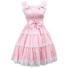 Partiss Women's Jumper Skirt Ruffles Lace Victorian Sweet Lolita Dress ($55) ❤ liked on Polyvore featuring dresses, lace dress, flouncy dress, lace ruffle dress, lacy dress and ruffle dress