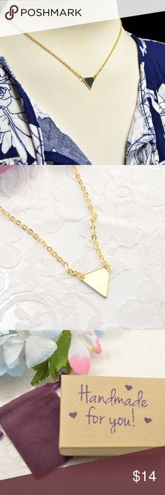 Geometric Triangle Handmade Necklace Gold Plated * Geometric Triangle Handmade Necklace Gold Plated * 15mm Triangle * Delicate, High quality chain, lobster claw clasp. * Comes in a velvet bag & gift box  ABOUT GOLD Plated Care: Plated jewelry is strong, yet delicate. To protect the life of your jewelry, remove when sleeping, exercising, or doing other physically strenuous activities. Also, avoid contact with perfumes, body sweat, body oils, & other chemicals, household cleaners. Never use…