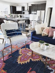home decor chic Modern Boho Chic Electric Living Room Gypsy Tan, Boho Rug kismet Ping Navy rug, Marble Coffee Table, Blue Couch, gold kitchen Stools Blue Couch Living Room, Boho Chic Living Room, Blue Couches, Living Room Modern, Living Room Interior, Living Room Furniture, Living Room Designs, Navy Couch, Gypsy Living