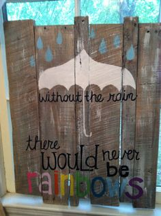 Pallet Art - rainbows. $50.00, via Etsy.
