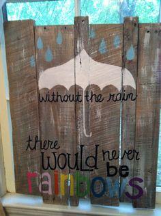 Pallet Art - rainbows. $50.00, via Etsy.
