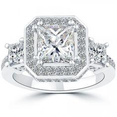 3.32 Ct. H-SI2 Three Stone Princess Cut Diamond Engagement Ring Set In Platinum - Three Stone Engagement Rings - Engagement - Lioridiamonds.com