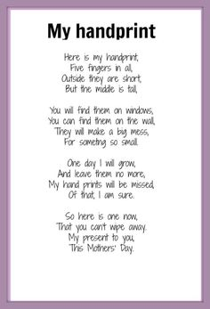 Handprint poem poem - sweet for grandparents or day.handprint_poem - sweet for grandparents or day. Mothers Day Cards, Mother Day Gifts, Poems For Mothers Day, Mother Poems, Mom Poems, Mothers Day Poems Preschool, Mothers Day Ideas, Daddy Poem, Grandparents Day Poem