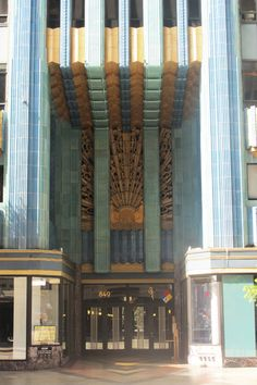 Entry of Art Deco icon the Eastern Columbia Building (1930) in Los Angeles' Broadway Theater District