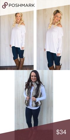 White Piko Top Girls, if you don't own a Piko top, you're missing out. We love the oversize fit and the comfort of these shirts! Not only are they the perfect fall layering piece, but they're perfect just by themselves.   Oversize fit Made of Bamboo Spandex Material. Customer Favorite Both Models are usually a size small and is wearing a small.  No Trades.  Price is FIRM unless bundled! Tree People Piko 1988 Tops Tees - Long Sleeve