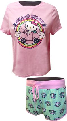 WebUndies.com Hello Kitty Vacation Vibes Shortie Pajamas Best Pajamas, Take Better Photos, Cuddling, Hello Kitty, Tropical, Snoopy, Poses, Vacation, Make It Yourself