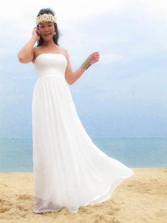 Wedding Dress Low Back, White Wedding Dresses, Bridesmaid Dresses, Bridesmaids, Dress Flower, Flower Crown, Chiffon Dress, Silk Chiffon, Floral Headbands