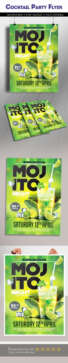 Mojito Night Party Flyer Template PSD