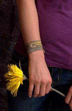 Boho Style Bracelet, Yellow and Gray Silk Ribbon, Sterling Silver, Yoga Jewelry, Wrap, Wrapping, Boho Chic