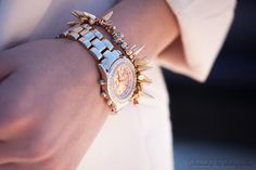 Pressing Flowers Blog | Alexandra Lee Photography | Spiked bracelet, pink blazer. Arm party - Spring outfit 2015