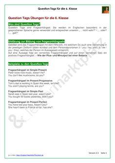 Materialpaket: Question Tags für die 6. Klasse - Erklärung und Übungen als PDF und Doc