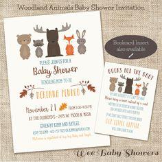 Woodland Baby Shower Invitation, Fox, Buck, Bear, Baby Shower by WeeBabyShower on Etsy https://www.etsy.com/listing/252803941/woodland-baby-shower-invitation-fox-buck