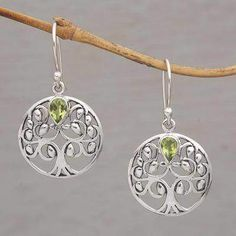 The Living Tree Handmade 925 Sterling Silver Peridot Dangle Earrings #earrings #silverjewelry #wedding #prettygirl #jewelry #elegant #ad