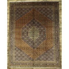 Isabelline One-of-a-Kind Lora Vintage Bidjar Persian Traditional Hand-Knotted x Wool Rust/Brown Area Rug Teal Area Rug, Navy Blue Area Rug, White Area Rug, Beige Area Rugs, Wool Area Rugs, Wool Rug, Natural Area Rugs, Hand Knotted Rugs, Throw Rugs