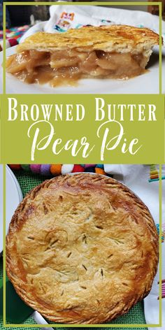 Browned Butter Pear Pie: Crisp Asian pears baked in brown sugar & spices with browned butter for an intense toasted nutty flavor. Pear Pie, Pear Tart, Sweet Pie, Sweet Tarts, Asian Pear Recipes, Beautiful Pie Crusts, Birthday Pies, Coconut Banana Bread, Brown Butter