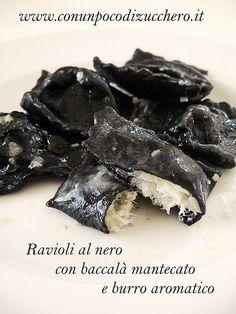 Ravioli al nero con baccalà mantecato e burro aromatico I can male this with chestun flour and black ink
