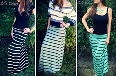 GroopDealz | Striped Maxi Skirt – 4 Color Choices! $19.99 today only!!!