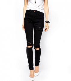 ASOS Ridley High Waist Ultra Skinny Jeans (in Clean Black)