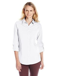 358306458f5de7 Foxcroft Women s Jackie Long-Sleeve Non-Iron Shirt Button-front shirt in  non-iron performance fabric featuring long sleeves with three-quarter roll  tabs ...