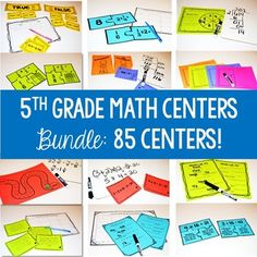 5th Grade Math Centers for Every Standard! Each standard has several centers to allow you to differentiate. This resource includes 85 centers for you to use in math centers, small groups, tutoring, RTI, and more!