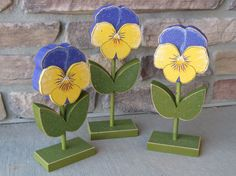 3 Tall Standing Pansy Block Set for Spring decor by lisabees